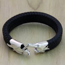 men s braided leather bracelet hand in hand