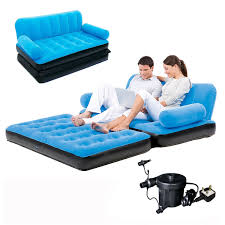 Double Sofa Bed Inflatable Double Sofa Air Bed Couch Blow Up Mattress With Pump Ebay