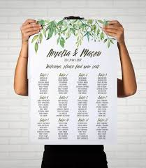 Personalized Seating Chart Greenery Wedding Seating Chart Leafy Wreath Personalized