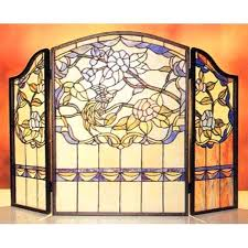 stained glass fireplace screen patterns style free