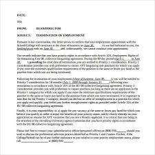Termination Letter Format 5 Letter Sample Lettering