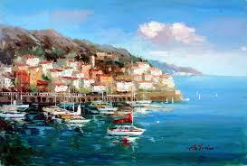 greek village by the sea 2 by antonio original oil painting