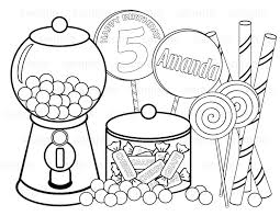 Personalized Printable Sweet Shoppe Candy Birthday Party Sweet Shop Coloring Page