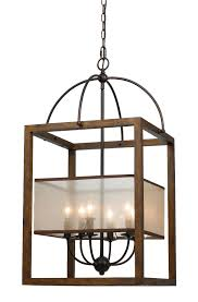 wood chandelier lighting. Arts Crafts Mission Chandelier Organza Silk Shade, Wood, Iron 6 Lights 19\ Wood Lighting R
