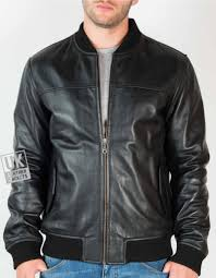 men s black leather er jacket morton