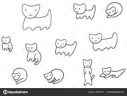 Minimale Grappige Kittens Kleurplaat Pagina Stockvector Fesleen
