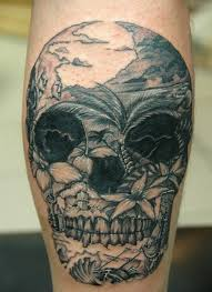 Mexican Traditional Black Ink Skull Tattoo On Leg Stylized With Wild