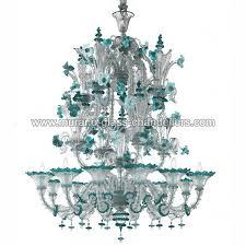 santa fosca murano glass chandelier 12 lights transpa blue color