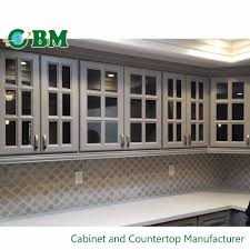 China Wall Hanging Kitchen Cabinet With Glass Door Insert Design