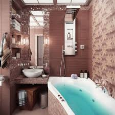 small bathroom decorating ideas with tub. Gorgeous Brown Bathroom Decoration With Curved White Tub For Small Room 3D Wallpaper And Unique Decorating Ideas V