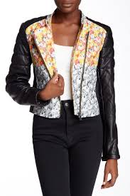 Yigal Azrouel Genuine Leather Sleeve Floral Print Jacket Nordstrom Rack