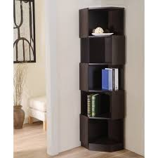 furniture pretty corner book shelves 13 useful of america laina geometric espresso 5 shelf bookshelf