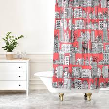 Coral Design Shower Curtain New York Coral Shower Curtain Sharon Turner
