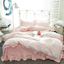 white ruffle duvet cover princess style lace ruffled duvet cover bed sheet set washed cotton white pink blue solid color design bedding set white ruffle