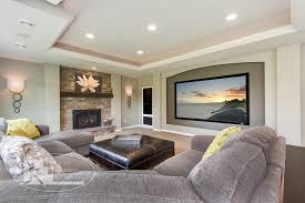 Basement movie room basement contemporary with living room