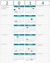 Yearly Planning Calendar Template 2014