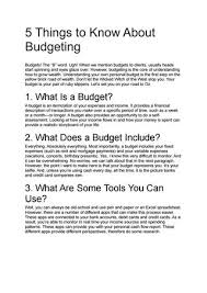 5 things to know about budgeting by Sergio Curry - issuu