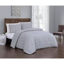 geneva home fashion embossed jess 3 piece light gray queen comforter set