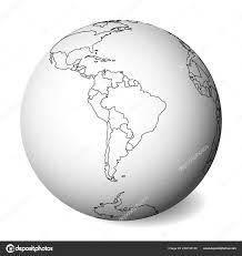 Blank Political Map Of South America 3d Earth Globe With Black