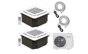 2 zone mini split. Simple Zone Klimaire 2Zone 18000 BTU 12Kx2 Duel Ceiling Cassette 21 Seer AC Mini Split  Heat Throughout 2 Zone 0