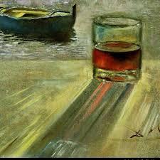 bicchiere di vino e barca salvador dalì wine winepassion winelover wineworld