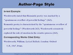 overview this presentation will cover updates to mla  author page style in text example wordsworth stated that r tic poetry was marked