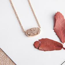 kendra scott elisa pendant necklace in rose gold drusy new dust bag