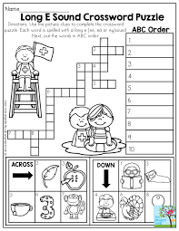 Long E Sound Crossword Puzzle- Use the clues to complete the ...