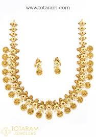 22k gold sri rama pattabhishekam long necklace earrings set with cz color stones temple jewellery