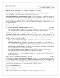 free construction operations manager resume example operation manager resume