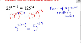example solving exponential equations not requiring logs