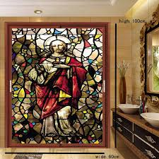 europe colored frosted window stickers stained glass art church of retro glass door stickers