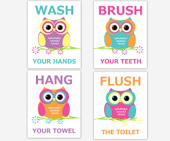 bathroom rules for kids. Perfect Rules Owl Kids Bath Wall Art Teal Orange Pink Yellow Purple Wash Brush Hang Flush  Teeth Hands Towel Toilet Bathroom Rules Children Prints With For F