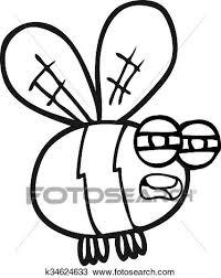 Nero Bianco Cartone Animato Ape Clipart