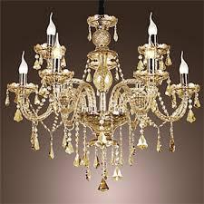 luxury crystal chandelier cognac ceiling light modern 2 tiers living 9 lights