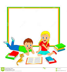 frame with children boy and reading a book stock vector ilration of