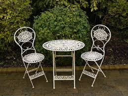 white iron garden furniture. Amazing White Bistro Table And 2 Chairs Details About Folding Metal Garden Furniture Oval Iron