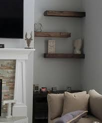 large floating shelves for accent wall