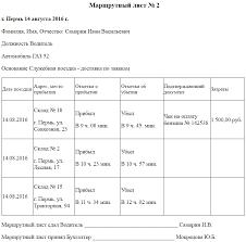 Маршрутный лист Образец заполнения и бланк года Образец маршрутного листа
