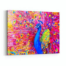 colorful wall art original oil painting of peacock modern canvas print for bathroom diy ideas colorful wall art