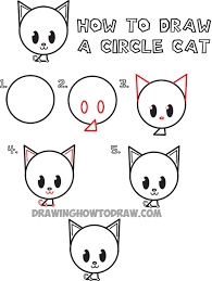 easy animals to draw step by step. Wonderful Step How To Draw A Cute Cartoon Circle Cat Intended Easy Animals To Step By