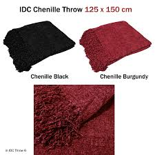 idc chenille throw living sofa couch blanket rug 125x150cm