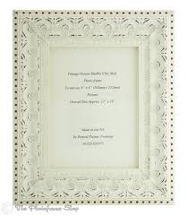 handmade ornate distressed soft white shabby chic wide profile vintage picture frame for an 8