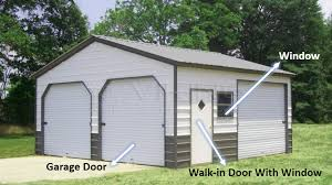 enclosed garage with doors and window