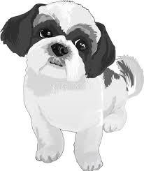 シーズーの白黒モノクロでかっこいい犬の無料イラスト68039 素材good