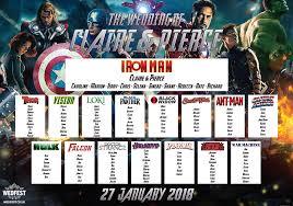 Avengers Chart Avengers Superhero Wedding Table Seating Plan Wedfest