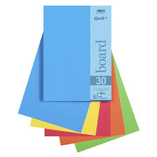 Optix Paper Colour Chart Quill A4 210gsm Board Bright Assorted 25 Pack