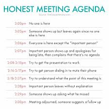 Honest Meeting Agenda