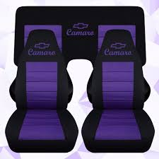 front and rear chevy camaro coupe black and purple seat covers 2010 2016 a