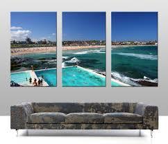 bondi 3 panel split canvas on 3 panel wall art set with bondi 3 panel split canvas wall art blue horizon prints